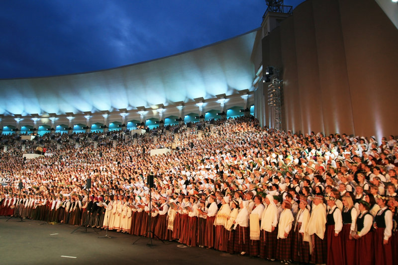 Choir. Latvian Nationwide Song and Dance Celebration in Riga 2008 5.-12. July Latvia royalty free stock images