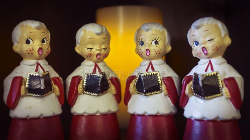 Choir Boys. Retro Christmas Choir Boy Ornaments royalty free stock photography