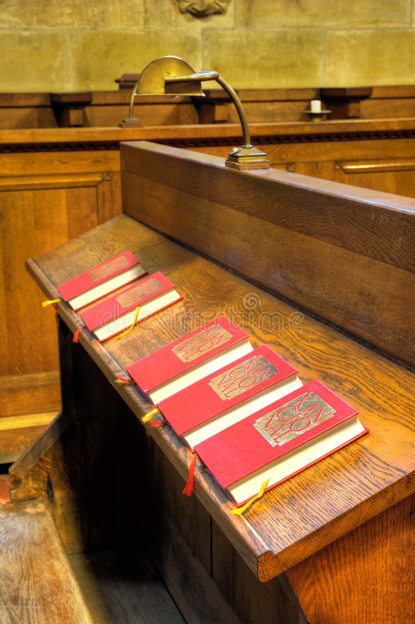 Choir chapel - detail of hymnal books stock photo