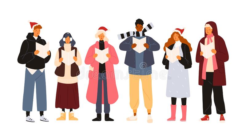 Choir or group of cute men and woman dressed in outerwear singing Christmas carol, song or hymn. Smiling street singers vector illustration