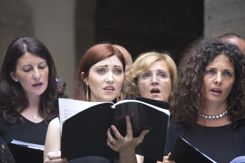 Choir singers stock image