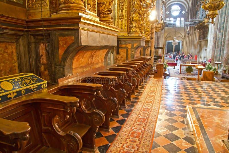 Choir stall. At Santiago de Compostela cathedral stock photography