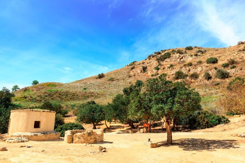 Choirokoitia的新石器时代的解决在塞浦路斯 免版税库存照片