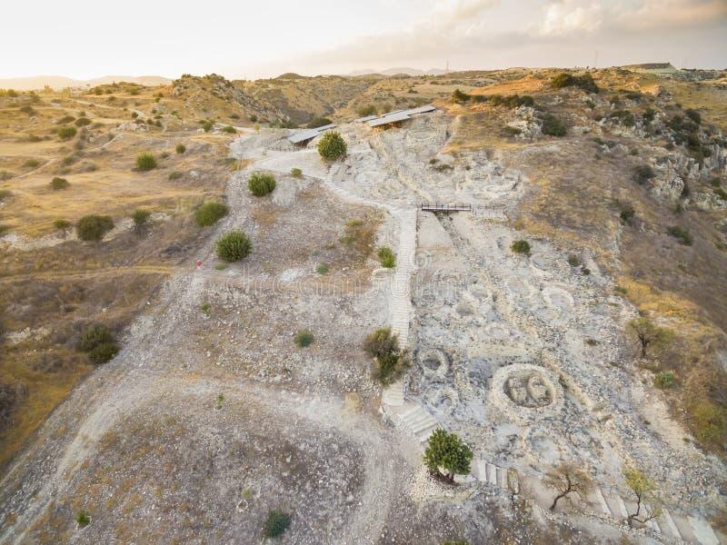 Choirokoitia aérien, Larnaca, Chypre photo stock