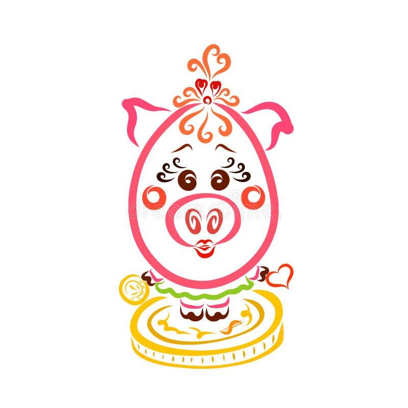 Choisissant entre l'amour et la richesse, une fille porcine avec une pièce de monnaie et un coeur illustration de vecteur