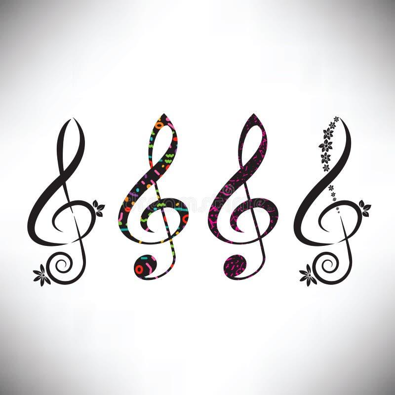 Choisissez de quatre a assorti les clefs décoratives de G illustration de vecteur