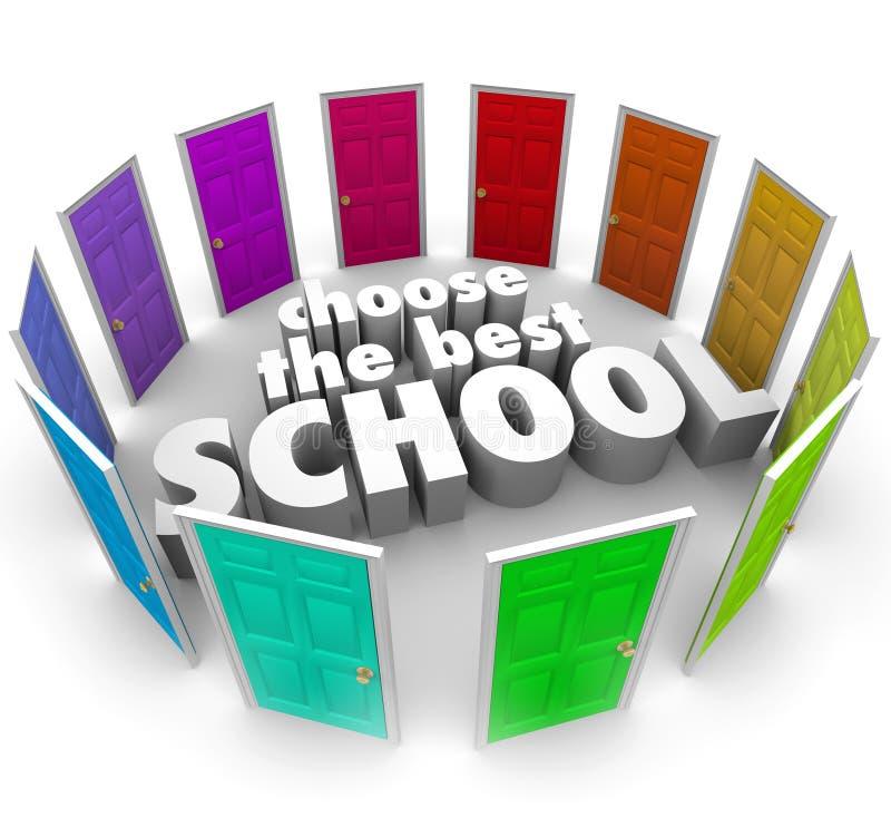Choisissez l'université supérieure d'université de portes colorée les meilleures par écoles bien choisie illustration de vecteur