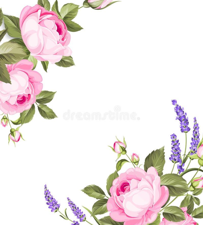 Choisissez la carte rose Carte douce de vintage avec la guirlande florale tirée par la main dans le style d'aquarelle - lavande p illustration de vecteur