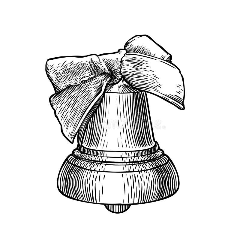 Choisissez la cloche gravée avec l'arc d'isolement sur le fond blanc illustration stock