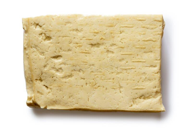 Choisissez le bloc de tofu blanc d'isolement sur le blanc images stock