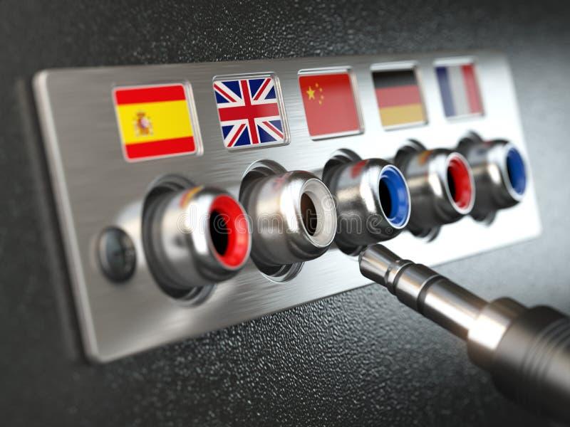 Choisissez le langage En apprenant, traduisez les langues ou le guide audio Co illustration libre de droits