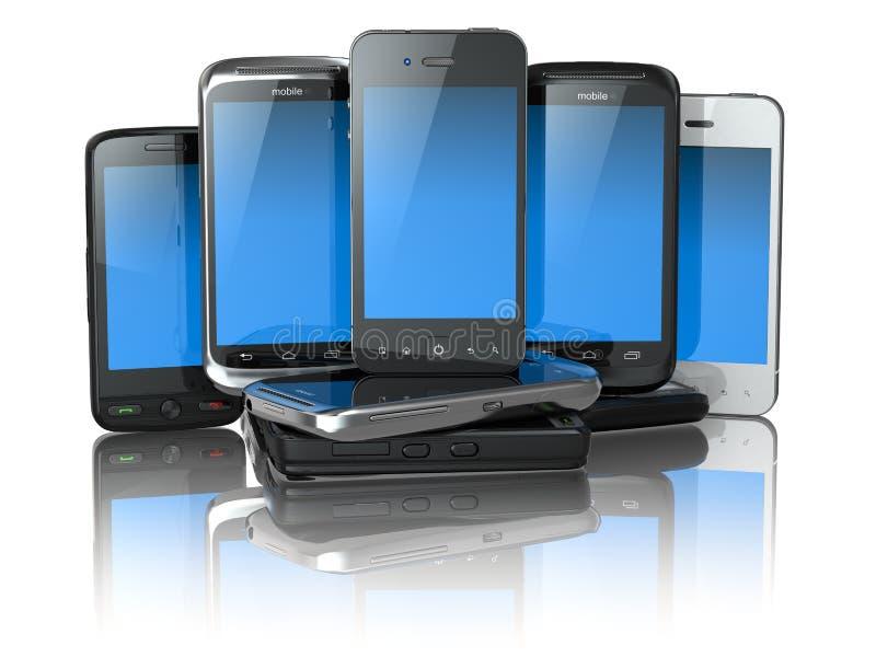 Choisissez le téléphone portable. Pile de nouveaux téléphones portables. illustration libre de droits