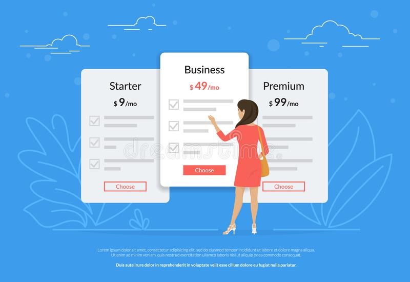 Choisissez votre plan d'abonnement ou de paiement Jeune femme tenant les panneaux proches d'évaluation illustration de vecteur