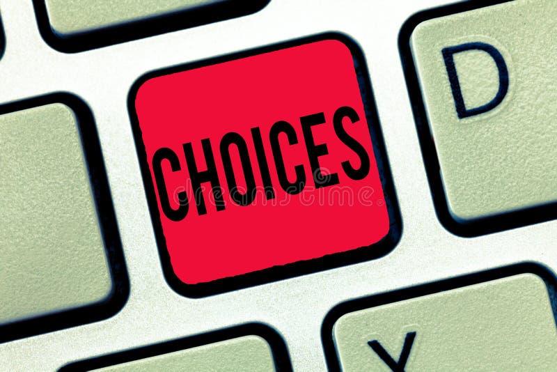 Choix d'écriture des textes d'écriture Options de signification de concept choisissant entre deux décisions ou plus de possibilit image libre de droits