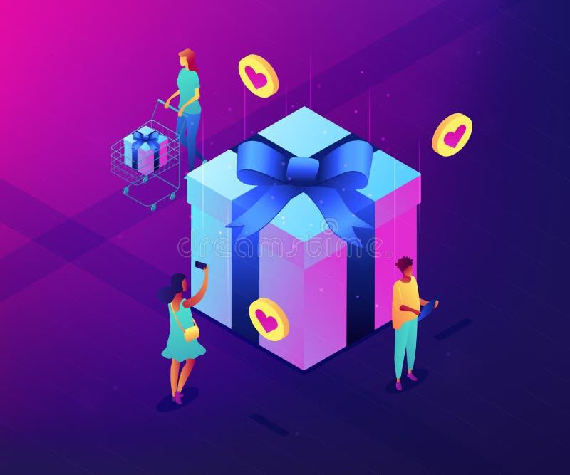 Choix de l'illustration isométrique du concept 3D d'idée de cadeau illustration de vecteur