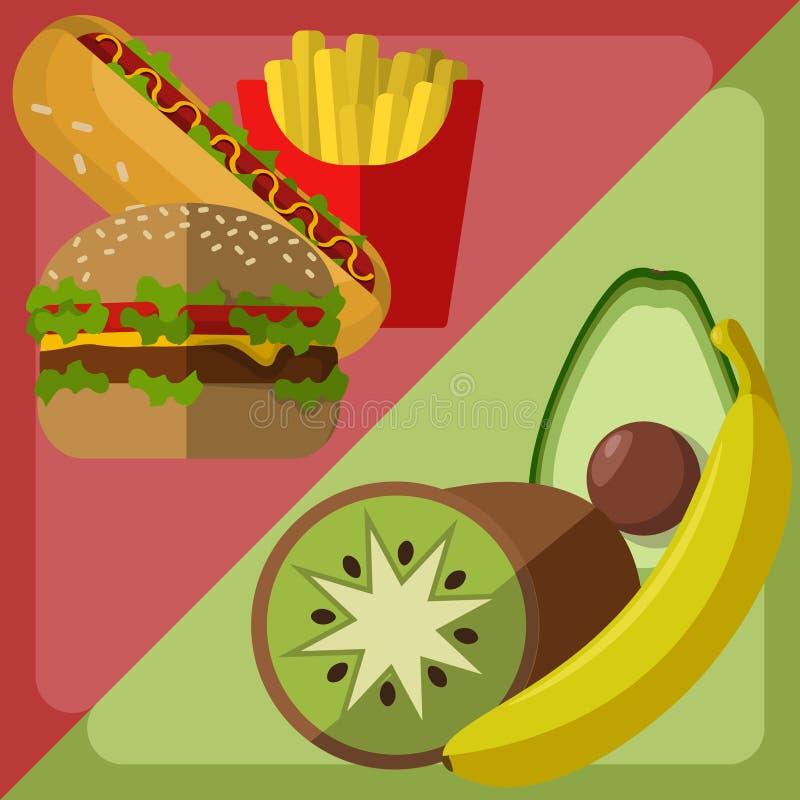 Choix de nourriture de vecteur Fruits et organique contre les aliments de préparation rapide illustration stock