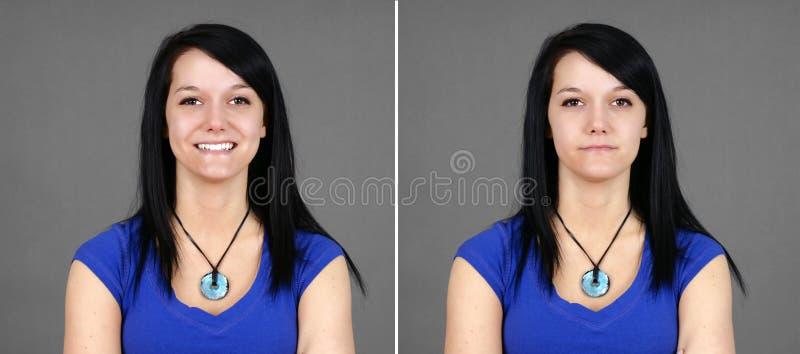 Choix de verticale heureuse et neutre de jeune femme photo stock