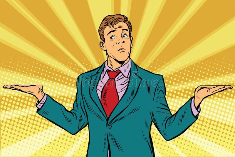 Choix difficile, pondération de geste de main d'homme d'affaires illustration libre de droits