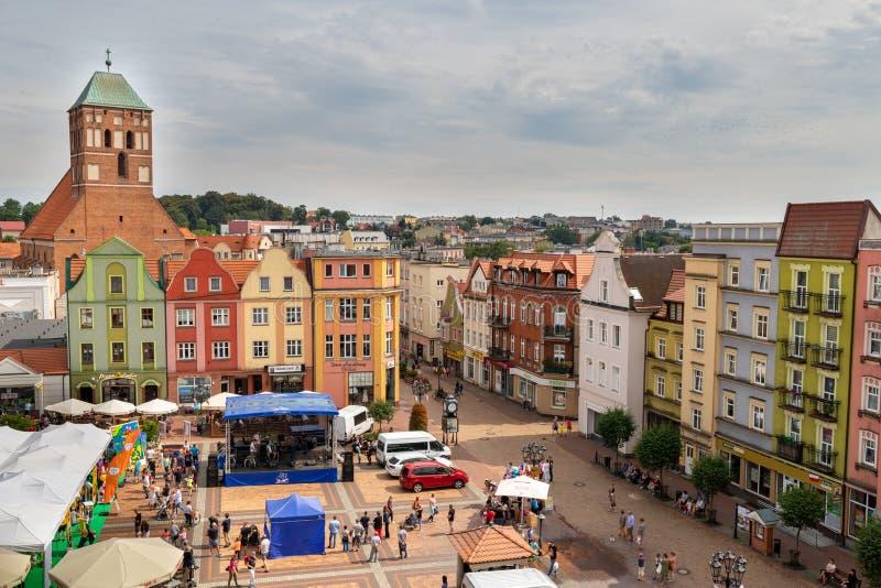 Chojnice, Pomorskie/Польша 8-ое августа 2019: Старый городок маленький город в Центральной Европе Центр маленького города внутри стоковое изображение rf
