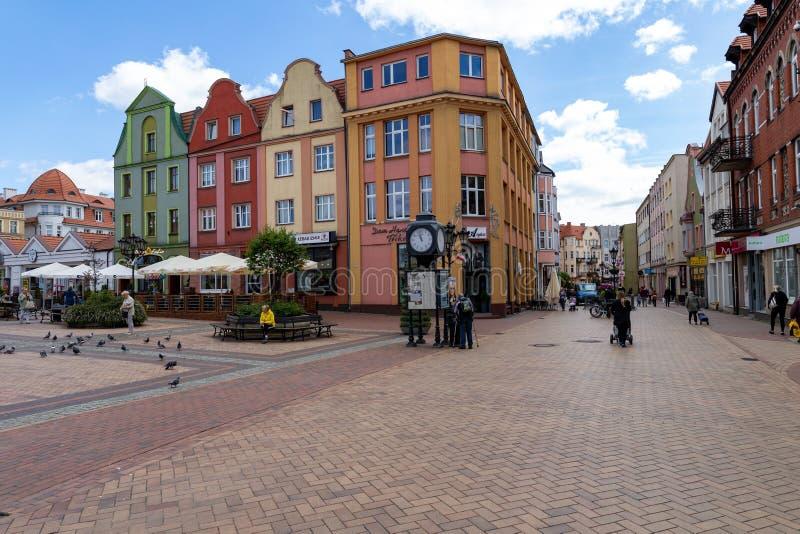 Chojnice, Pomorskie/Польша - 29-ое мая 2019: Старый городок маленький город в Центральной Европе Центр маленького города в Помера стоковая фотография