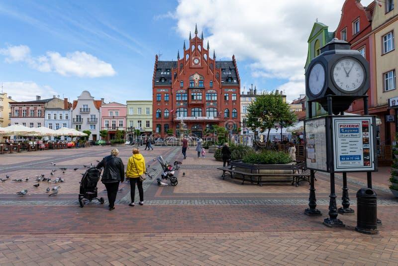 Chojnice, Pomorskie/Польша - 29-ое мая 2019: Старый городок маленький город в Центральной Европе Центр маленького города в Помера стоковое фото