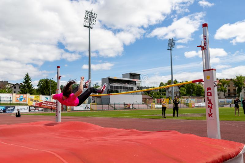 Chojnice, pomorskie / Poland - May, 29, 2019: Athletics competition at the municipal stadium. Struggles in running and jumping in royalty free stock photo