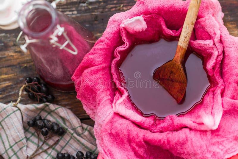 Chokeberry del tinte de la clarificación a través de los gases de la tela fotografía de archivo libre de regalías