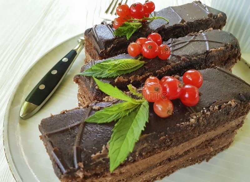 Choklad - brun kaka, röd vinbär, för maträttsmaktillsats för mintkaramell krämigt klipp bakad platta för bakelse på vitt trä arkivfoto