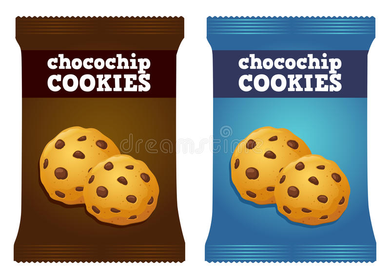 Choklad Chips Cookie Snack Packaging Vector vektor illustrationer