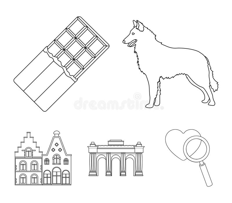 Choklad, domkyrka och andra symboler av landet Belgien ställde in samlingssymboler i materiel för symbol för översiktsstilvektor vektor illustrationer