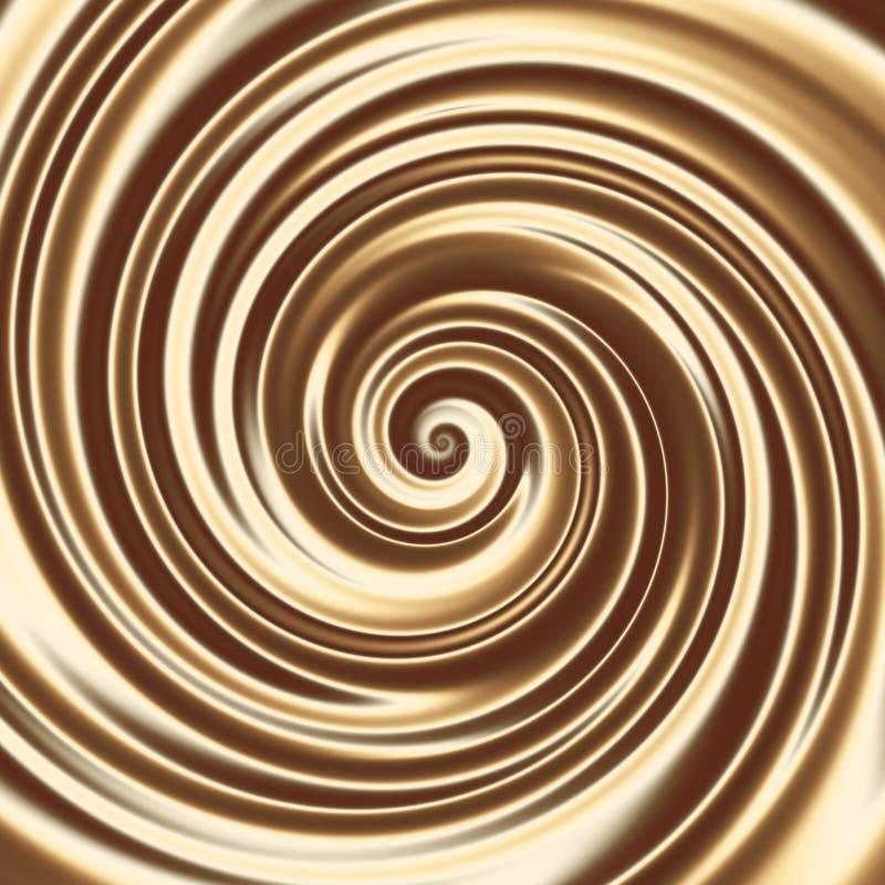 Choklad eller kaffe mjölkar coctailspiraltextur stock illustrationer