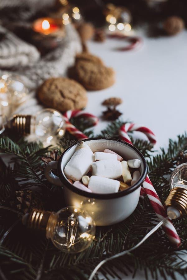 Choklad eller kakao med marshmallowen, kakor, godis på vit bakgrund arkivbild