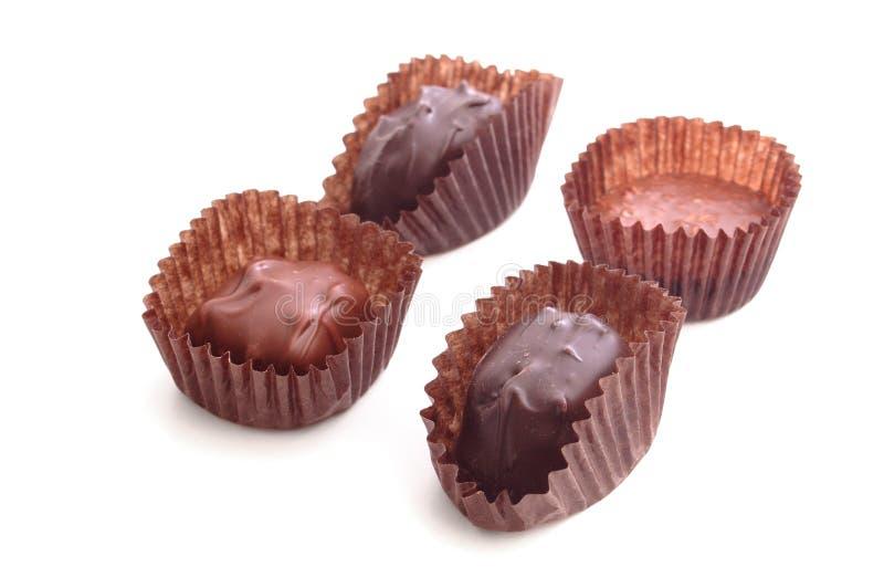 choklad för 4 godisar arkivbild