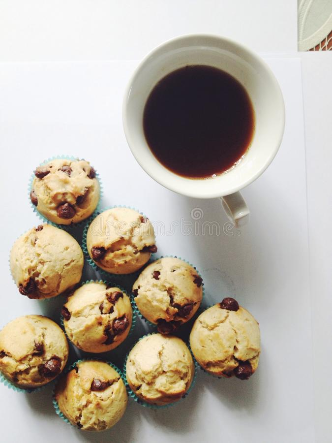 Choklad gå i flisor muffiner royaltyfria bilder