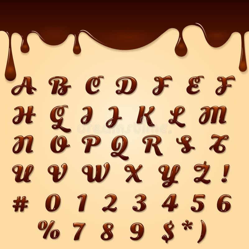 Choklad gjorde text royaltyfri illustrationer
