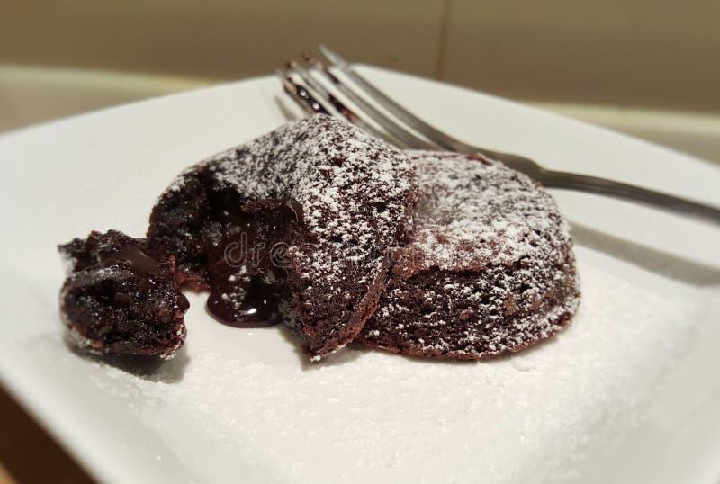 Choklad Lava Cake royaltyfri foto