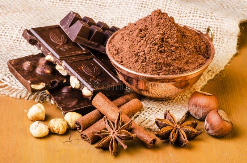 Choklad med hasselnötter och kryddor royaltyfri foto