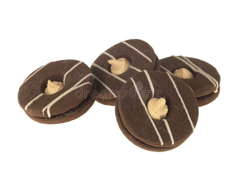 Choklad- och CaramelShortbreadkexar royaltyfri foto