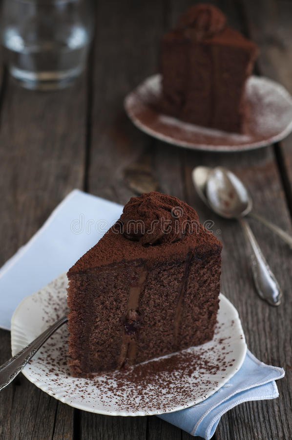Choklad- och kakaokaka royaltyfria bilder