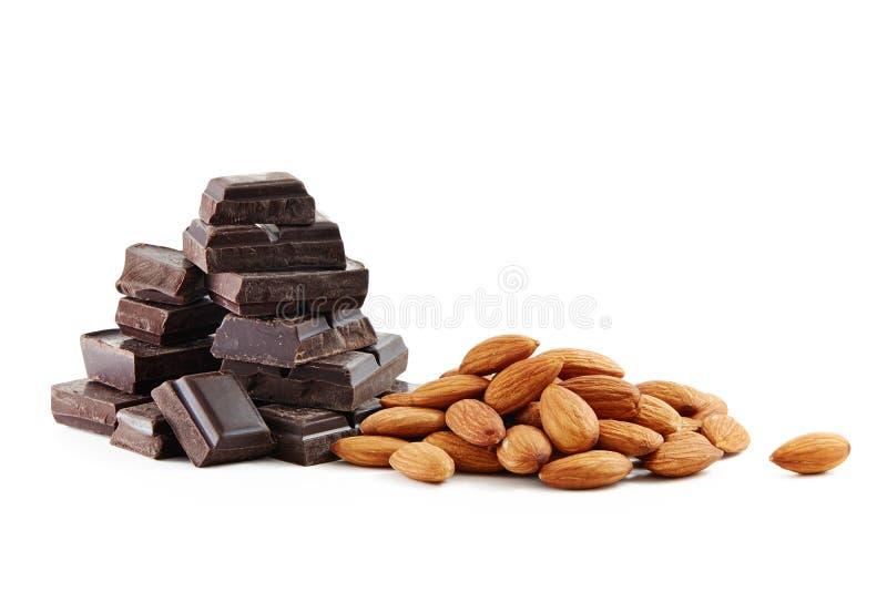 Choklad och mandlar royaltyfri foto
