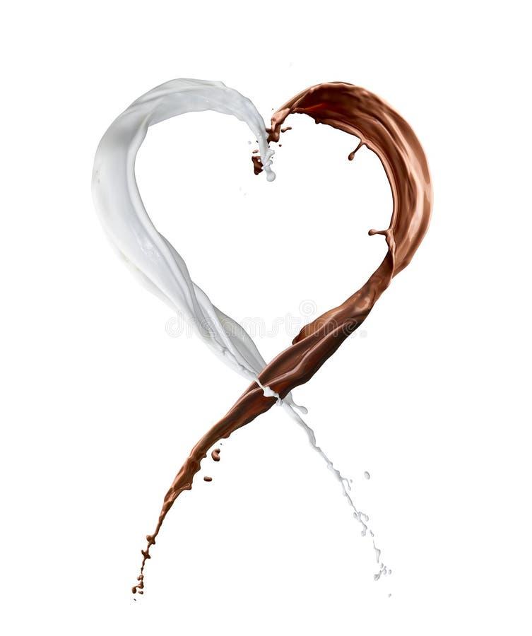 Choklad och mjölkar färgstänkhjärta royaltyfri fotografi