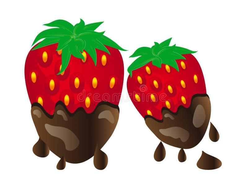 Choklad räknade jordgubbar vektor illustrationer