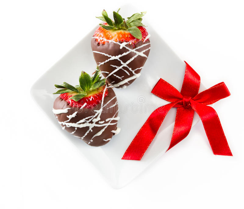 choklad räknade jordgubbar royaltyfri fotografi