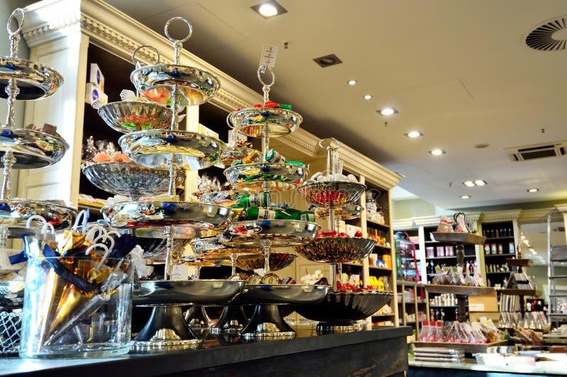 Choklad shoppar i den Hamburg staden, Tyskland royaltyfri bild