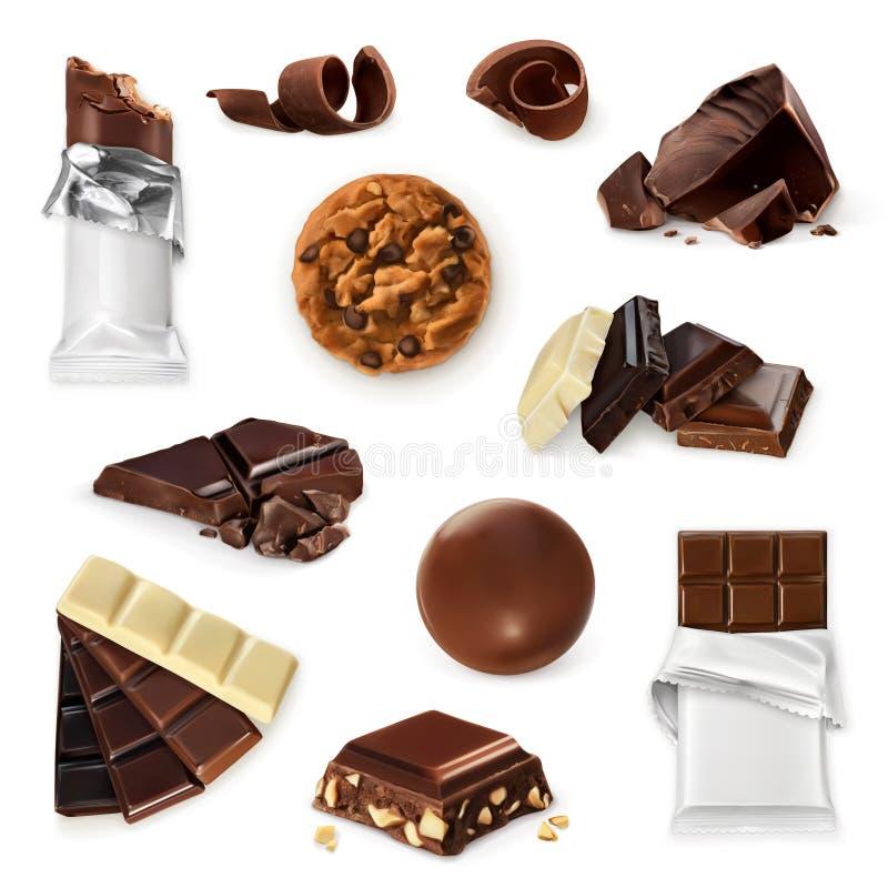 Choklad vektorsymbolsuppsättning vektor illustrationer