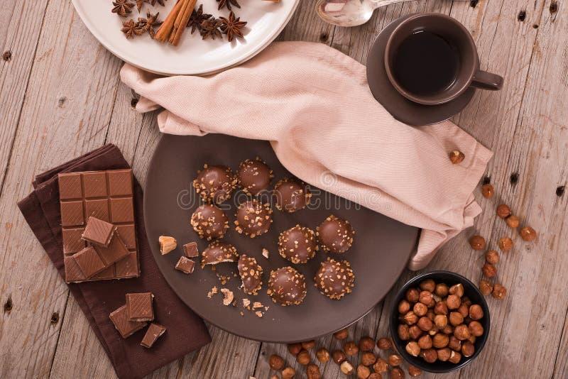 choklad vita isolerade tryfflar royaltyfria bilder