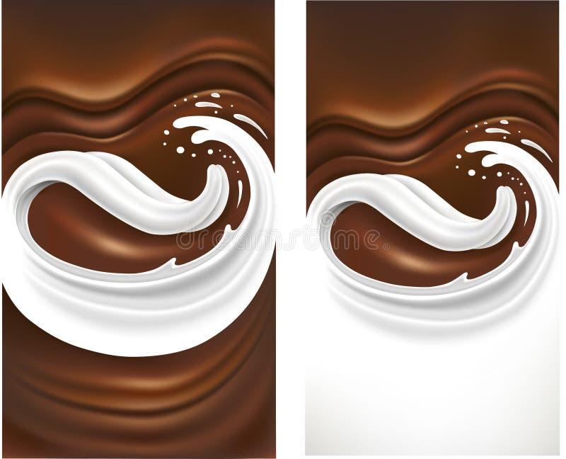 Chokladbakgrund med mjölkar tungfärgstänk stock illustrationer
