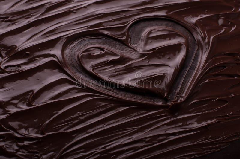Chokladbakgrund vinkar hjärtamatlagningbegreppet - smältt choco royaltyfri foto