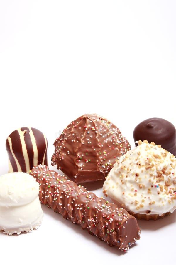 chokladconfectionen räknade maräng royaltyfria foton