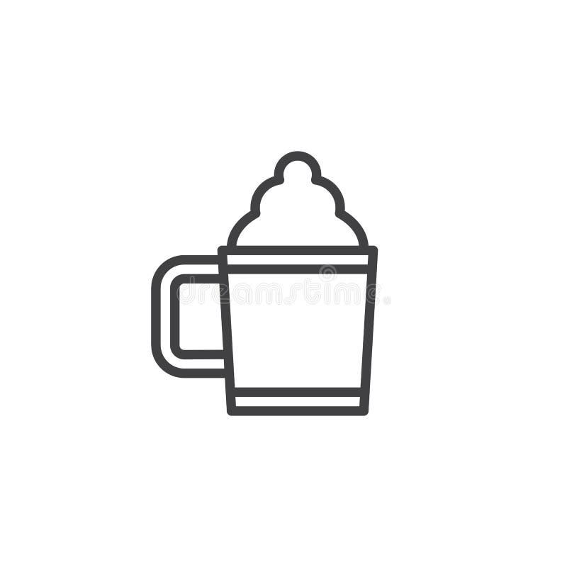 Chokladdrinkkopp med skumöversiktssymbolen stock illustrationer